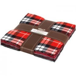 """Mammoth Flannel 10"""" charm squares Red fabric from Robert Kaufman Fabrics sold by Online Canadian Fabric Store Woven Modern Fabric Gallery"""
