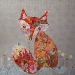 Frieda Fox Collage by Laura Heine Fiberworks sold by Online Canadian Fabric Store Woven Modern Fabric Gallery