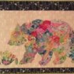 Paisley Bear Collage by Laura Heine Fiberworks sold by Online Canadian Fabric Store Woven Modern Fabric Gallery