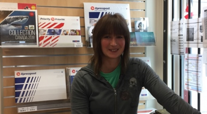 Carolin Kleedehn at the Carcross post office used by Canadian online fabric shop Woven Modern Fabric Gallery