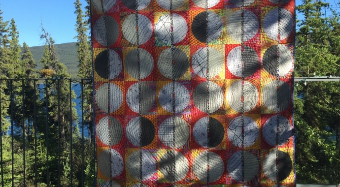 The Record Quilt made with fabric from Canadian online fabric shop Woven Modern Fabric Gallery
